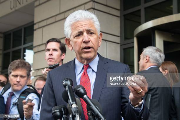 ATT and Time Warner attorney Daniel Petrocelli speaks to the press after a court ruled that the 85 billion USD merger between ATT and Time Warner...