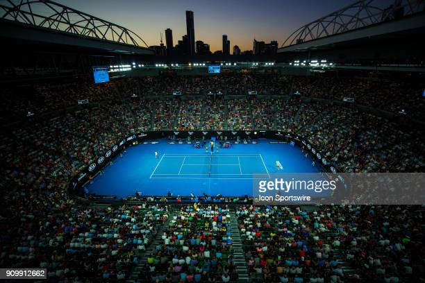and TOMAS BERDYCH during day ten match of the 2018 Australian Open on January 24 2018 at Melbourne Park Tennis Centre Melbourne Australia