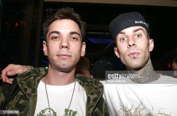 DJ AM and Travis Barker during DJ AM and Travis Barker in Concert at Mixx at the Borgata Hotel in Atlantic City April 15 2006 at Mixx at the Borgata...