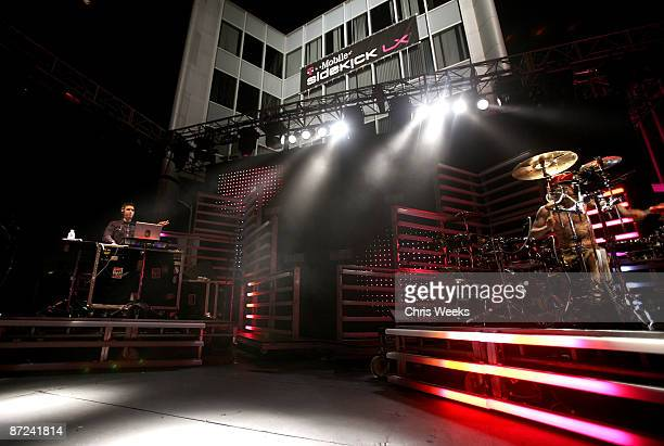 And Travis Barker performs during the T-Mobile Sidekick LX launch event at Paramount Studios, one of 6 simultaneous launch events celebrating the new...