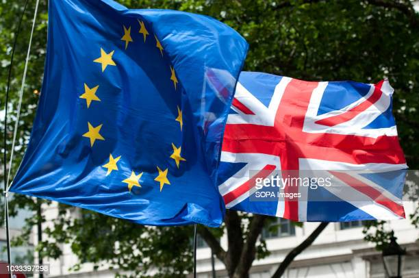EU and Uk flags at the Britain for Europe March Hundreds of people marched through central London asking for a second referendum in the attempt of...