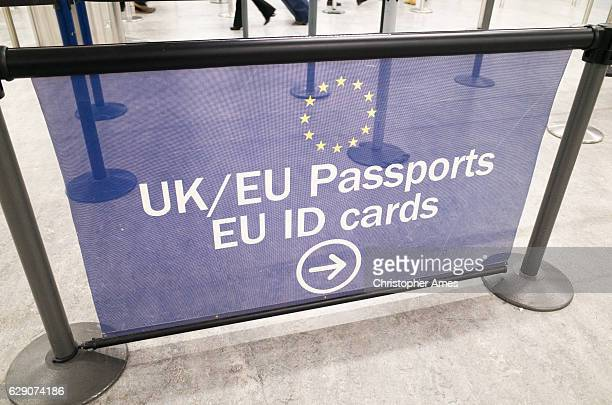 EU and UK Passport Control Signage at London Gatwick Airport