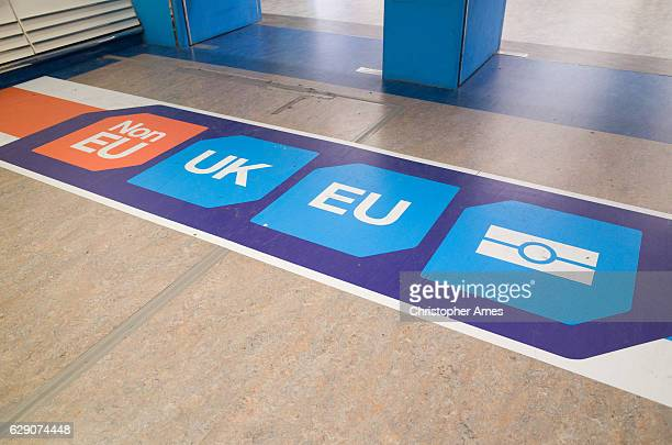 EU and UK Passport Control Signage at London Gatwick Airport
