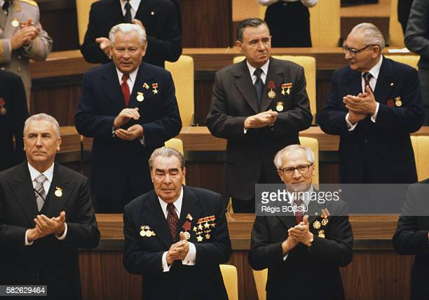 DDR and USSR leaders Erich Honecker and Leonid Brezhnev attend a ceremony marking DDR's 30th anniversary