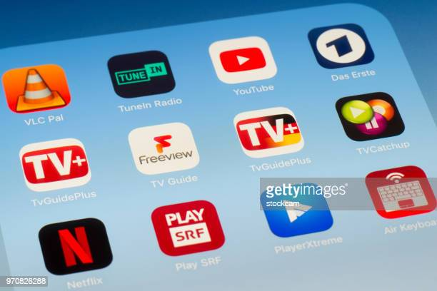 TV and video streaming Apps on iPad screen