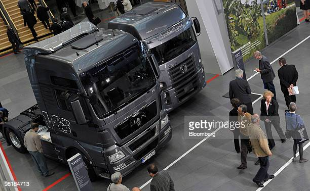 And Volkswagen AG trucks are seen parked together at the company's annual shareholders' meeting in Munich, Germany, on Thursday, April 1, 2010. MAN...