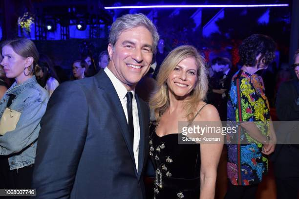 CEO and Wallis Annenberg Director Michael Govan wearing Gucci and LACMA trustee Allison Berg attend 2018 LACMA Art Film Gala honoring Catherine Opie...