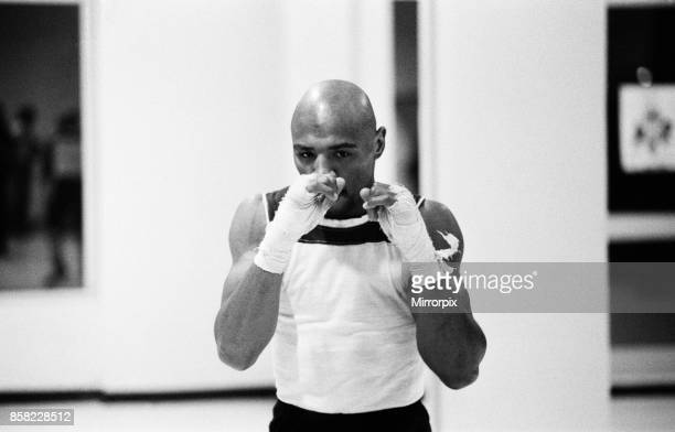 And WBA world champion Marvin Hagler training for his sixth defence of his world titles against Italy's Fulgencio Obelmejias, 28th October 1982.