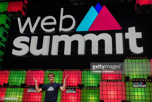 And Web Summit co-founder Paddy Cosgrave delivers remarks at the beginning of the opening night of Web Summit in Altice Arena on November 04, 2019 in...