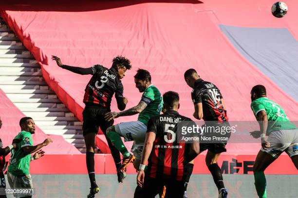 And William SALIBA of Nice and Mathieu DEBUCHY of Saint Etienne during the Ligue 1 match between OGC Nice and AS Saint-Etienne at Allianz Rivera...
