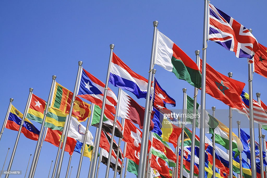 UK and world national flags : Stock Photo