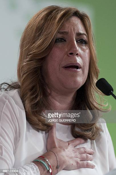 Andalusia regional government president and candidate of Spanish Workers' Socialist Party for the upcoming regional election Susana Diaz speaks...