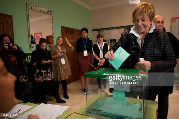 Andalusian Popular Party Congress deputy Celia Villalobos casts her vote at a polling station in Malaga on December 2 2018 during Andalusia's...
