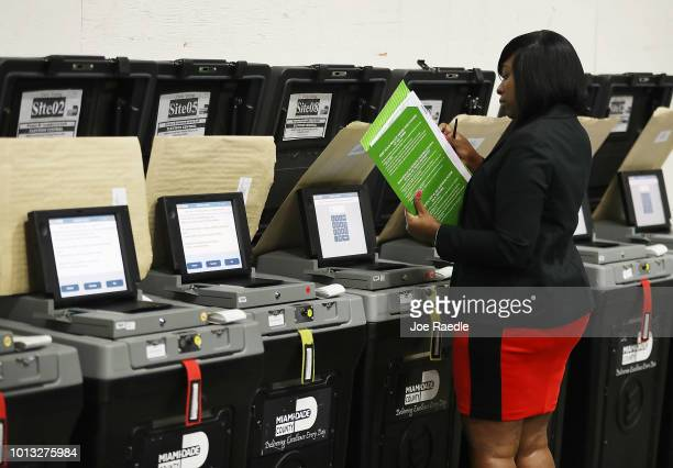 Andcherla Marcelin a MiamiDade election support specialists checks voting machines for accuracy at the MiamiDade Election Department headquarters on...