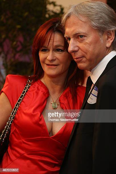 Andea Berg and Uli Ferber arrive at the red carpet during the German Media Award 2014 on January 23, 2015 in Baden-Baden, Germany.