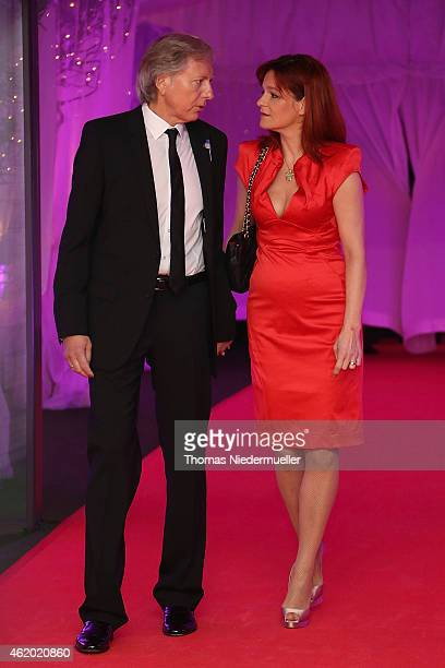 Andea Berg and Uli Ferber arrive at the red carpet during the German Media Award 2014 on January 23 2015 in BadenBaden Germany