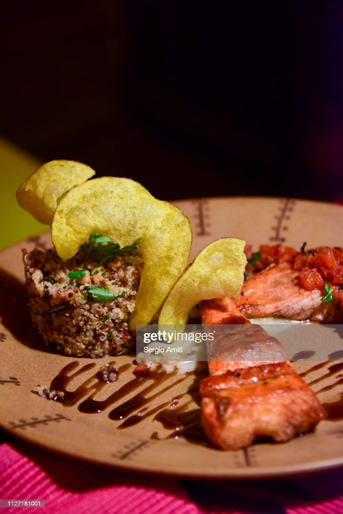 Andean trout with quinoa : Stockfoto