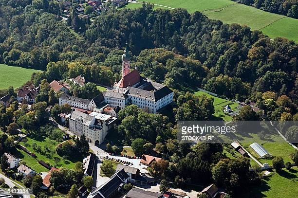 andechs abbey, bavaria, germany, aerial view - starnberg photos et images de collection