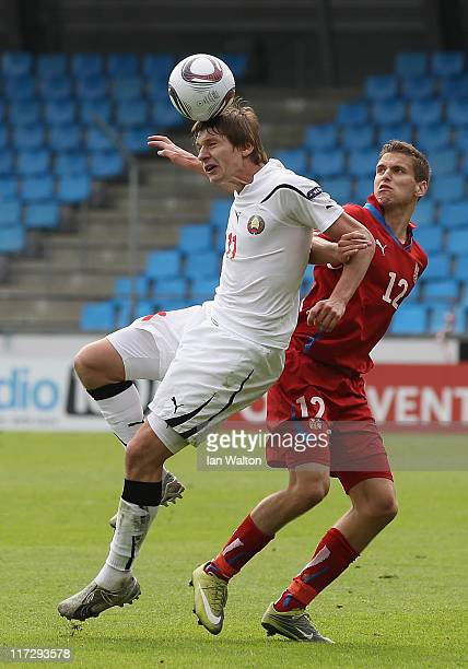 Andei Voronkov of Belarus and Jan Kovarik of Czech Republic in action during the UEFA European U21 Championship third place playoff match between...