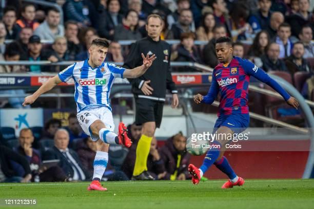 Ander Barrenetxea of Real Sociedad defended by Nelson Semedo of Barcelona during the Barcelona V Real Sociedad La Liga regular season match at...