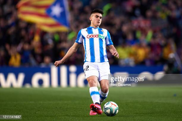Ander Barrenetxea of Real Sociedad plays the ball during the Liga match between FC Barcelona and Real Sociedad at Camp Nou on March 07 2020 in...