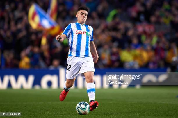 Ander Barrenetxea of Real Sociedad runs with the ball during the Liga match between FC Barcelona and Real Sociedad at Camp Nou on March 07 2020 in...