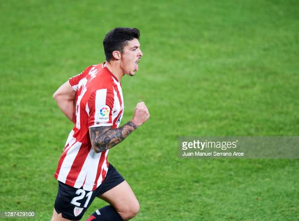 Ander Capa of Athletic Club celebrates after scoring his team's second goal during the La Liga Santander match between Athletic Club and Real Betis...