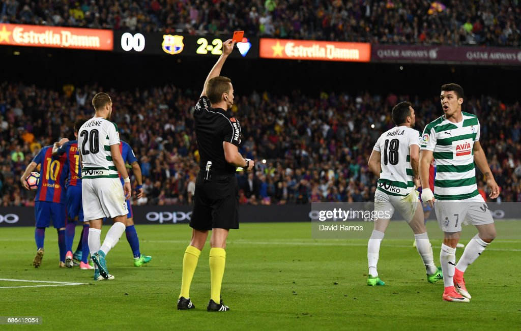 Ander Capa of Eibar is shown a red card by referee AAlejandro Jose Hernandez Hernandez during the La Liga match between Barcelona and Eibar at Camp Nou on 21 May, 2017 in Barcelona, Spain.