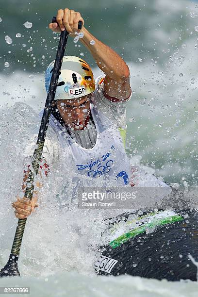 Ander Elosegui of Spain competes in the Canoe Single Men's Semifinal at the Shunyi Olympic Rowing-Canoeing Park on Day 4 of the Beijing 2008 Olympic...