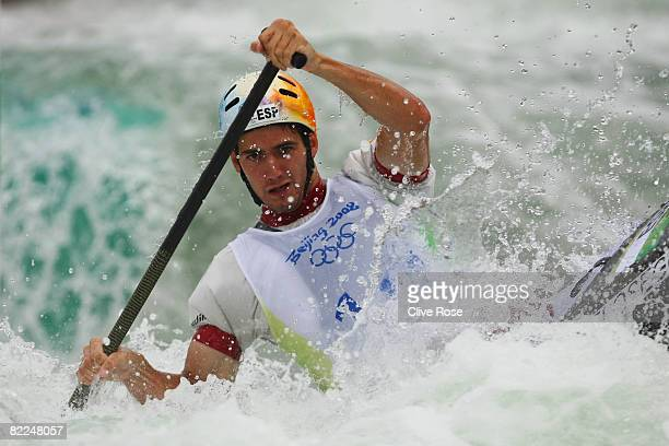 Ander Elosegui of Spain competes in the Men's Canoe Single heats 1st run at the Shunyi Olympic Rowing-Canoeing Park on Day 3 of the Beijing 2008...
