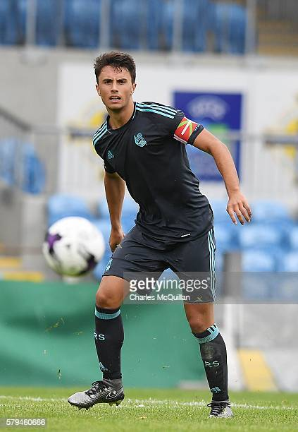 Ander Guevara of Real Sociedad during the third and fourth place play off Super Cup NI game at Ballymena Showgrounds on July 23 2016 in Ballymena...