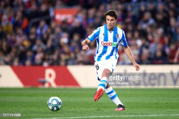 Ander Guevara of Real Sociedad plays the ball during the Liga match between FC Barcelona and Real Sociedad at Camp Nou on March 07 2020 in Barcelona...