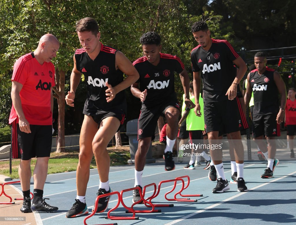 Ander Herrera and Chris Smalling of Manchester United in action during a Manchester United pre-season training session at UCLA on July 16, 2018 in Los Angeles, California.