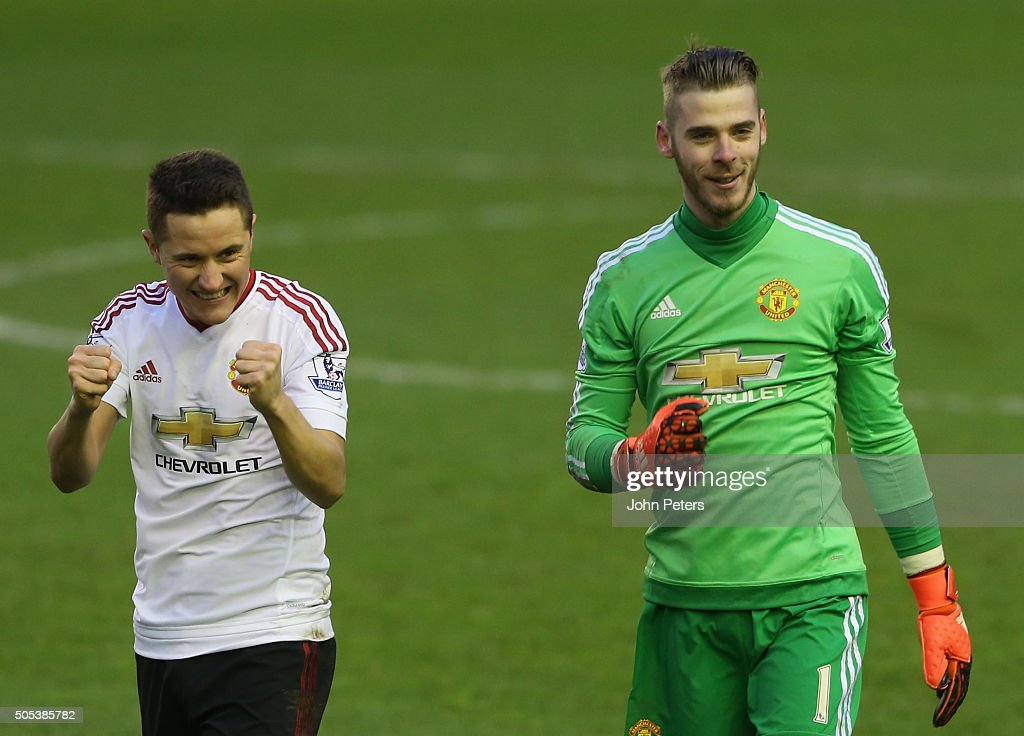 Ander Herrera and David de Gea of Manchester United celebrate after the Barclays Premier League match between Liverpool and Manchester United at Anfield on January 17 2016 in Liverpool, England.