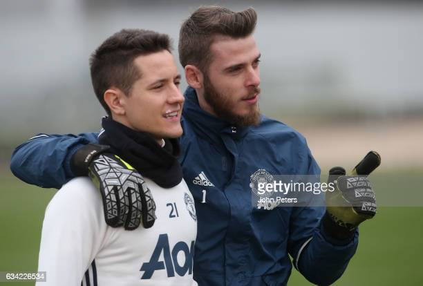 Ander Herrera and David de Gea of Manchester United in action during a first team training session at Aon Training Complex on February 8 2017 in...