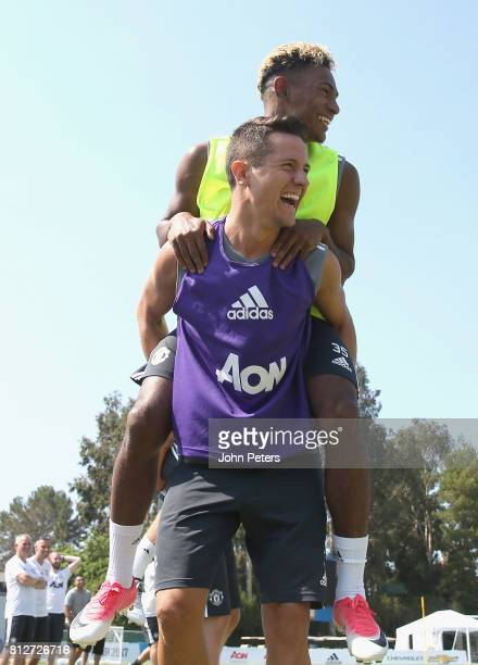 Ander Herrera and Demitri Mitchell of Manchester United in action during a first team training session as part of the club's preseason tour of the...