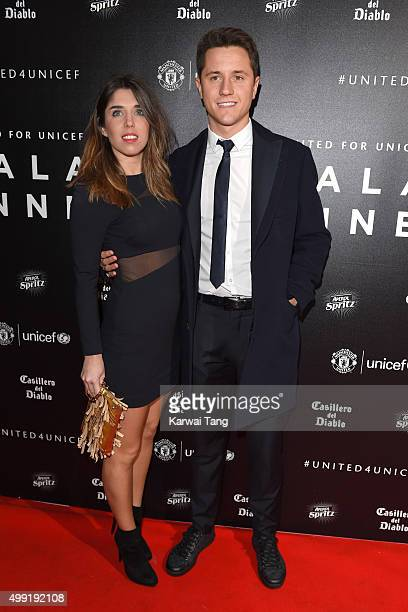 Ander Herrera and Isabel Collado attend the United for UNICEF Gala Dinner at Old Trafford on November 29, 2015 in Manchester, England.