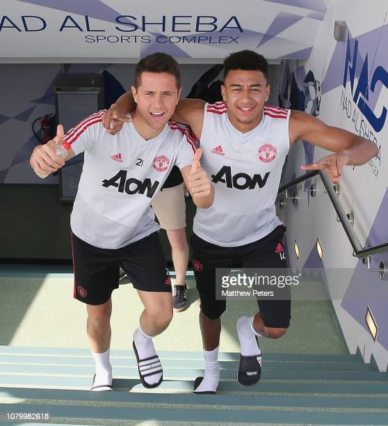 Ander Herrera and Jesse Lingard of Manchester United in action during a first team training session at Nad Al Sheba Sports Complex on January 10 2019...