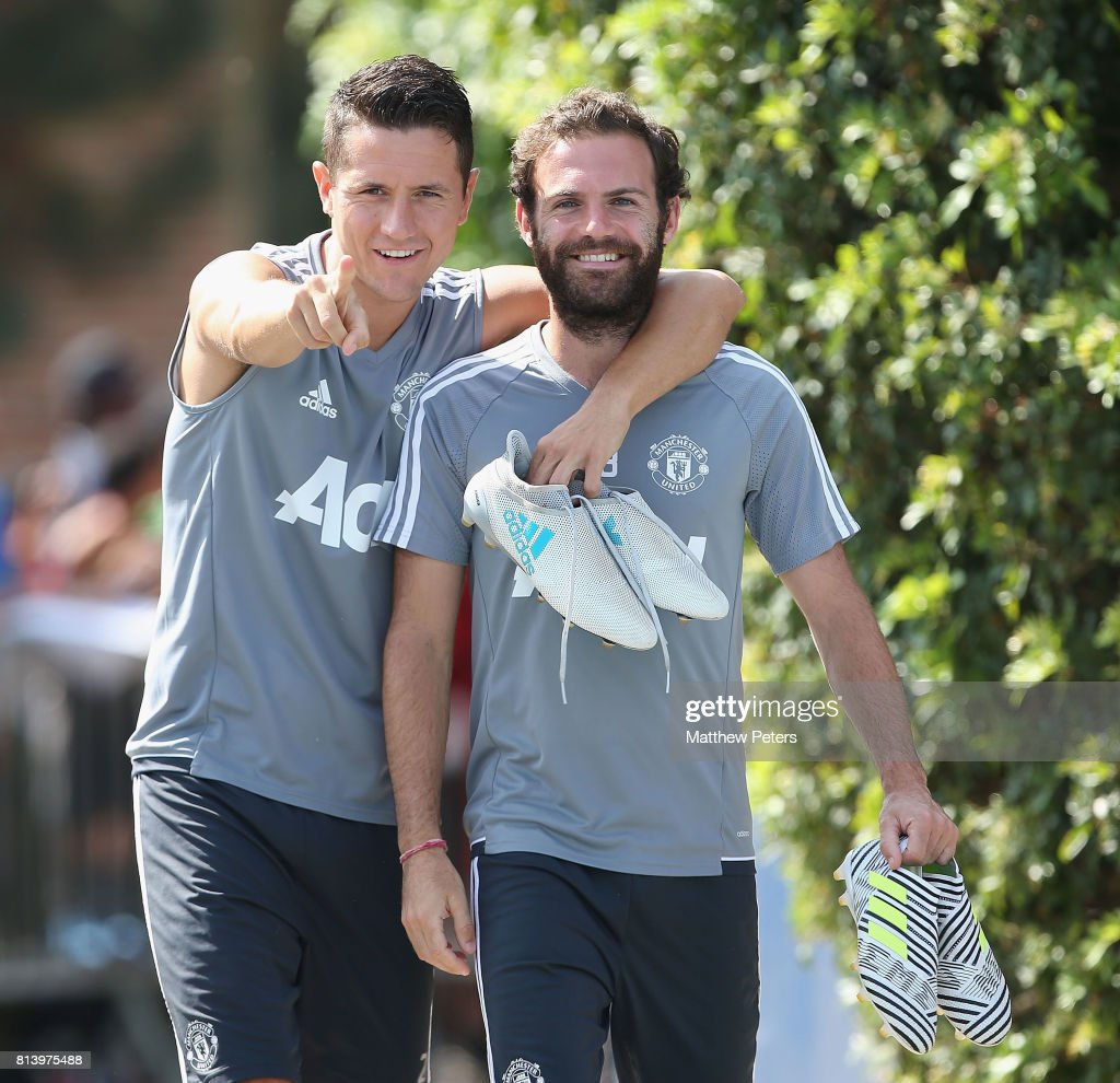 Ander Herrera and Juan Mata of Manchester United walk out ahead of a first team training session as part of their pre-season tour of the USA at UCLA on July 13, 2017 in Los Angeles, California.