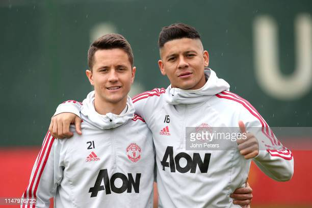 Ander Herrera and Marcos Rojo of Manchester United in action during a first team training session at Aon Training Complex on May 09, 2019 in...
