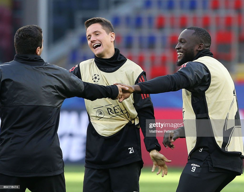 Ander Herrera and Romelu Lukaku of Manchester United in action during a training session ahead of their UEFA Champions League match against CSKA Moscow at VEB Arena on September 26, 2017 in Moscow, Russia.