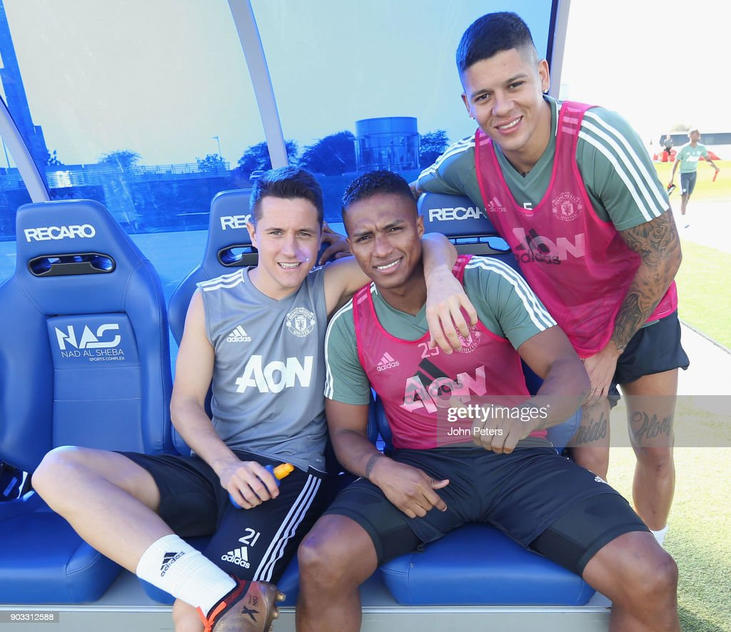 Ander Herrera, Antonio Valencia and Marcos Rojo of Manchester United in action during a first team training session at Nad Al Sheba Sports Complex on January 10, 2018 in Dubai, United Arab Emirates.