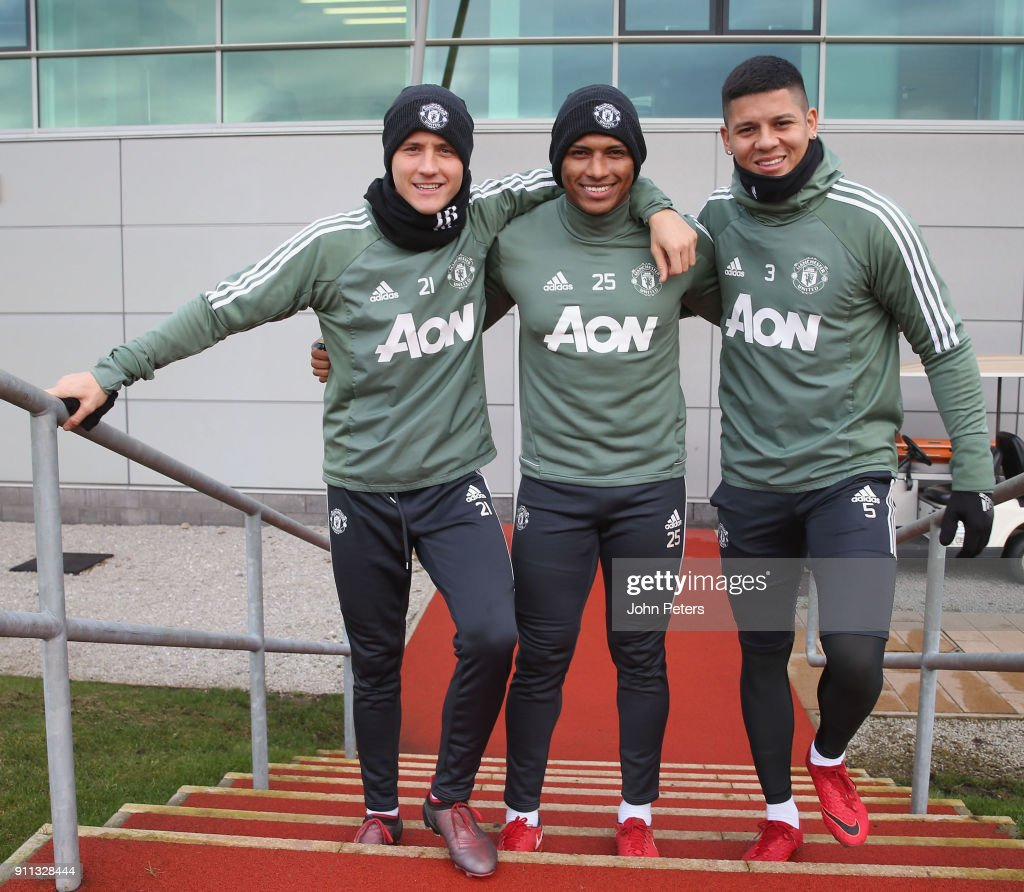 Ander Herrera, Antonio Valencia and Marcos Rojo of Manchester United in action during a first team training session at Aon Training Complex on January 28, 2018 in Manchester, England.