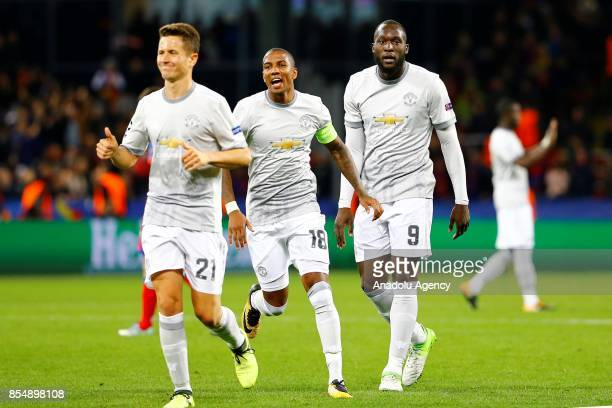 Ander Herrera Ashley Young and Romelu Lukaku of Manchester United are seen during the UEFA Champions League match between CSKA Moscow and Manchester...