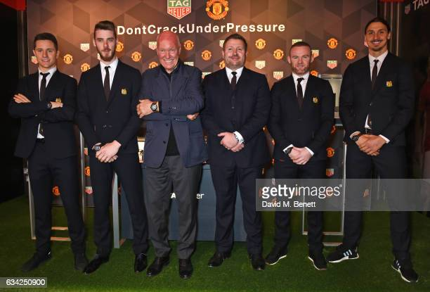 Ander Herrera David De Gea JeanClaude Biver TAG Heuer CEO and President of the LVMH Watch Division Richard Arnold Manchester United Group Managing...