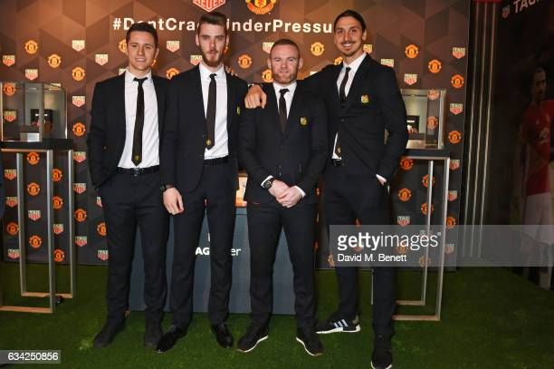 Ander Herrera David De Gea Wayne Rooney and Zlatan Ibrahimovic attend the launch of the TAG Heuer Manchester United partnered special editions at Old...