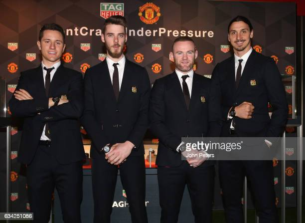 Ander Herrera David de Gea Wayne Rooney and Zlatan Ibrahimovic of Manchester United attend the launch of a TAG Heuer Special Edition Manchester...