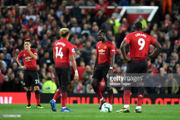 Ander Herrera Jesse Lingard Paul Pogba and Romelu Lukaku of Manchester United looks dejected during the Premier League match between Manchester...
