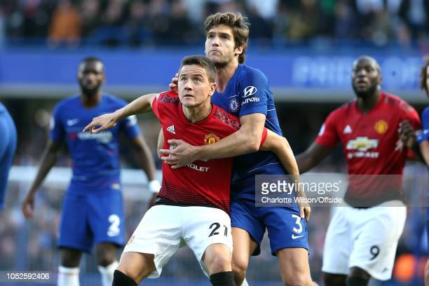 Ander Herrera of Man Utd and Marcos Alonso of Chelsea during the Premier League match between Chelsea FC and Manchester United at Stamford Bridge on...
