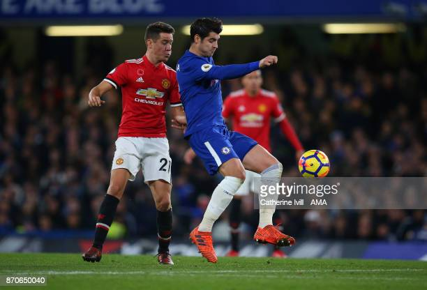 Ander Herrera of Manchester United and Alvaro Morata of Chelsea during the Premier League match between Chelsea and Manchester United at Stamford...